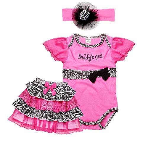 Newborn Unisex Baby Boy/Girls Clothes Sets Pants Sets Romper+Pants+Hat 3PCS Outfits Sets (3-6M, Rose)