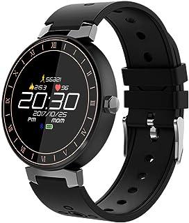 Pantalla a color Smartwatch, Pulsómetros Impermeable Podómetro de paso Pantalla táctil monitor de sueño Notificaciones inteligentes Fitness Tracker Multi-deporte Para Android iOS Phone,Black-OneSize