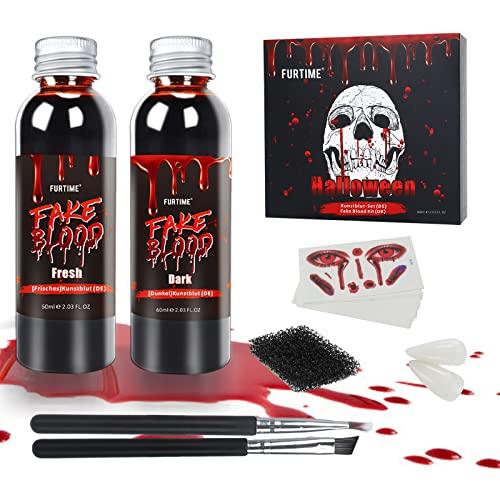 FURTIME Sangre Falsa Halloween, 60ml Sangre Fresca Artificial, 60ml Sangre Falsa roja Oscura, Dientes de Zombi, 30 Piezas de Tatuajes de Cicatrices temporales, Kit de Maquillaje de Efectos Especiales
