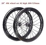 ADD 42mm Aleación de Aluminio Carbono Cubierta Bicicleta Carretera Ruedas Racing Bicicleta Ruedas 24 Agujeros 20 Pulgadas/ 8-11 velocidades