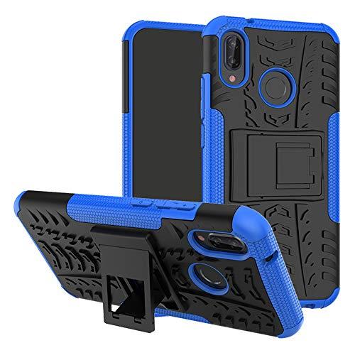 Labanema Huawei P20 Lite Custodia, Kickstand Dual Layer Ibrida Rigida Morbido Armatura Resistente agli Urti con Supporto e asportabile di Protezione per Huawei P20 Lite-Blu