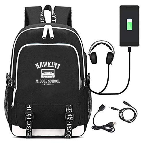 Strange Thing Hawkins Middle School AV Club College USB Charging Backpack Laptop Bag Travel Bookbag Daypack (Hawkins Middle School A.V Club -balck)