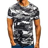 T Shirts Camicia da Uomo Manica Corta Bavero Moda Casual Fantasia a Righe mimetiche (S,1Grigio)