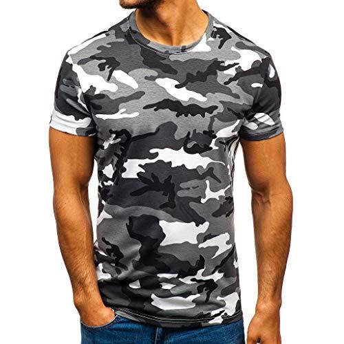 T Shirts Camicia da Uomo Manica Corta Bavero Moda Casual Fantasia a Righe mimetiche (XXL,1Grigio)