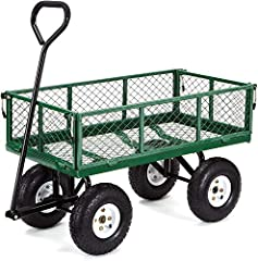 Durable 34-inch x 18-inch steel mesh bed and 10-inch pneumatic tires New frame design allows for quick and easy assembly while offering improved maneuverability, rigidity, and ground clearance Removable steel mesh sides for added versatility when car...