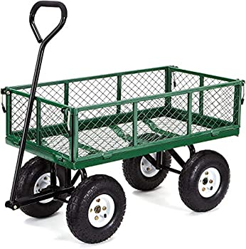 Gorilla Carts GOR400-COM Steel Garden Cart with Removable Sides 400-lbs Capacity Green
