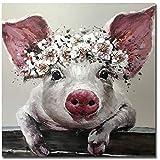XIAOMA Nette Schwein mit Kranz Leinwandmalerei und Drucke