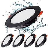 KSIBNW 5x Downlight LED 7W Foco empotrable led techo Redondo = 70W (700LM),6000K (Luz Blanco Frio),AC 220-240V,Recorte 80-90mm,IP44 Foco de Techo Ultraplano para Dormitorio,Baño,Cocina (Negro)