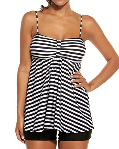 LAPAYA Women's Tankini Swimsuit Set 2 Pieces Striped Tank Top Boyshorts Bottom Bathing Suit, Black White, XX-Large