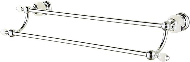 XINHU Volledig Koper Dubbele Handdoekenrek, Badkamerrek Vrij van Ponsen 61.8cm (Kleur: Zilver)