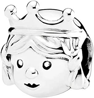Precious Princess Charm Little Girl with Crown 925 Sterling Silver Bead Fit Pandora Bracelets