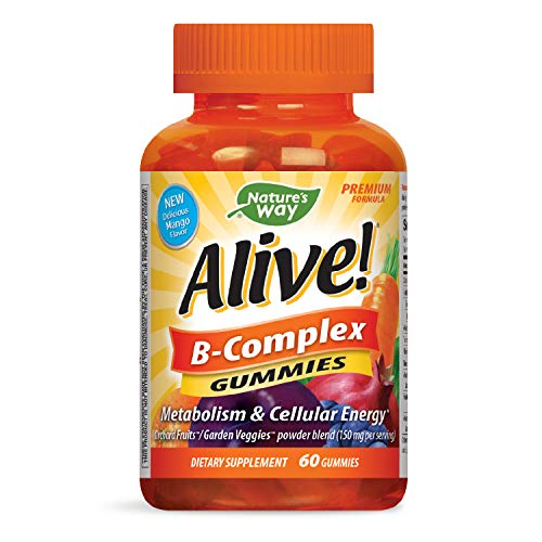 Nature's Way Alive! B-Complex Gummies, Food-Based Blend, Gluten Free, Made with Pectin, 60 Gummies