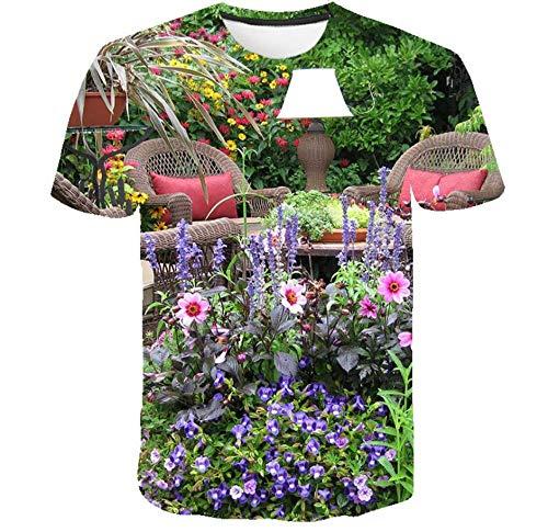 WAPDRY T-Shirt Imprimé 3D, Lampe De Table De Chaise De Jardin Fleurie Paysage Imprimé Manches Courtes, Col Rond À Séchage Rapide Casual Summer Tops-L
