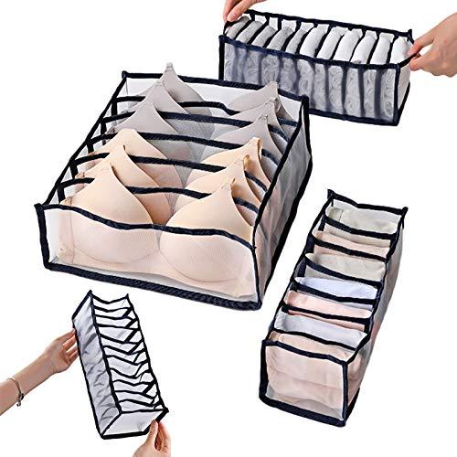 Zsroot Unterwäsche Schubladen Organizer, Aufbewahrungsbox Für Unterwäsche, Faltbox Kleiderschrank Organizer für BHS, Socken, Unterhosen Und Krawatten Aufbewahrungsboxen