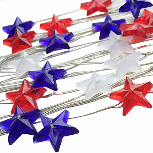 2 Pack Star Shaped ,Red White and Blue ,American Flag ,Battery Operated Indoor String Lights,USA 4th for July Fairy Lighting ,Christmas Day ,Home Patriotic,Memorial Day Decor( 2M 20 LEDs)