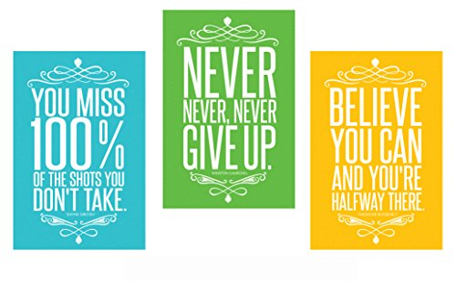 Motivational & Inspirational Sports Quote Home Wall Art Décor (13x19)   Set of 3 Colorful Positive Large Posters for Teenagers, Baby Room, Gym, Classroom, Office, Entrepreneur, PE, Gimnasio   UNFRAMED Signs Photos Pictures and Artwork for Mother, Daughter, Sister, Brother, Son, Father, Wife, Husband, Girlfriend, Boyfriend