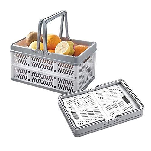 Faltbar Korb mit Griff Stabil Einkaufskorb Plastik Kunststoff Klappbox Klappbar Groß Picknickkorb für Camping Auto (Grau weiß, 1 Stück)