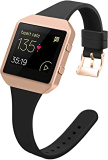 YiJYi Slim Bands Compatible with Fitbit Blaze, Thinner Soft Silicone Band with Metal Frame Replacement Wristband for Women Men Small Large