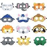 Blanketswarm Tier-Masken aus Filz für Geburtstag, Party, Kostüm für Kinder, 12 Packungen
