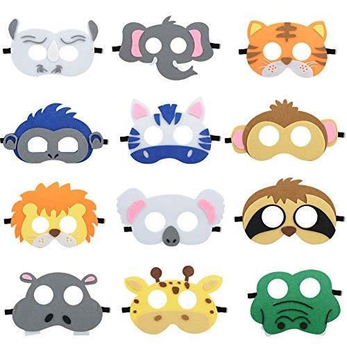 Jycra, lustige Tiermasken aus Filz, 12 Stück, Tier-Masken für Halloween-Kostüme, Cosplay-Requisite, Verkleidung, Party-Zubehör