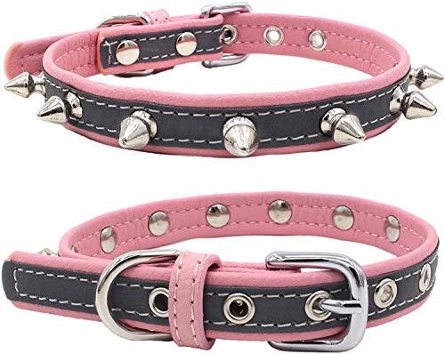 SNFHL Collar Reflectante para Cachorros con Remaches para Perros Pequeños,L-Pink