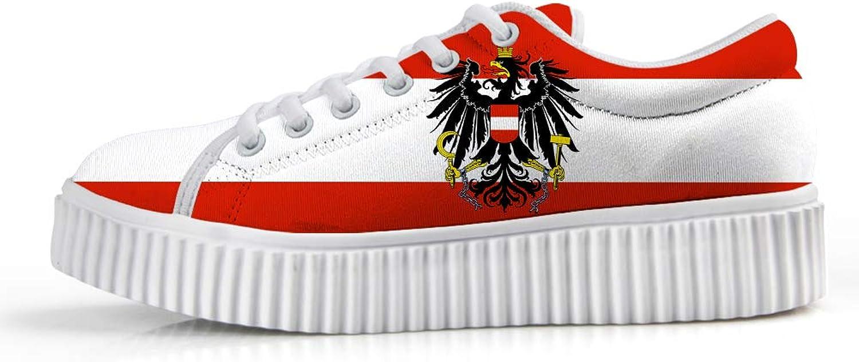 Owaheson Platform Lace up Sneaker Casual Chunky Walking shoes Low Top Women Austria Flag National Emblem