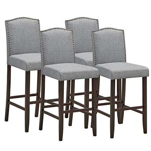 COSTWAY Bar Stool Set of 4, 29 Inch Upholstered Bar Stools with S-Shaped Spring Thick Cushion, Rubber Wood Legs, High Back Leisure Chairs for Living, Kitchen, Dining Room (4, Grey)