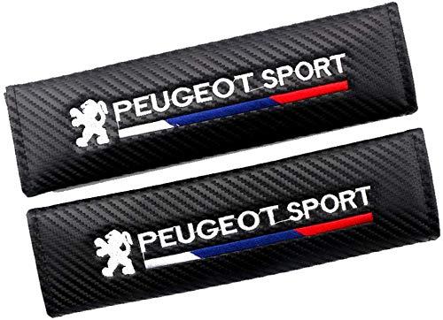 2 Piezas Fibras Carbono Seguridad CinturóN Almohadillas para Peugeot 2008 208 308 408 508 108 207 307 407 507 107 206 306 3008 4008, Hombro Seguridad Coche Cuero Interior Accesorios