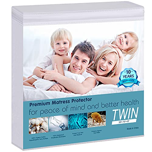 """Waterproof Mattress Protector Twin Size - 100% Organic Cotton Hypoallergenic Breathable Mattress Pad Cover, 18"""" Deep Pocket, Vinyl Free - 39""""x75"""""""