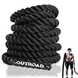 Outroad Jump Rope Sports Battle Rope 30 ft Length 1.5 inch Diameter, for Workout,Fitness & Strength...