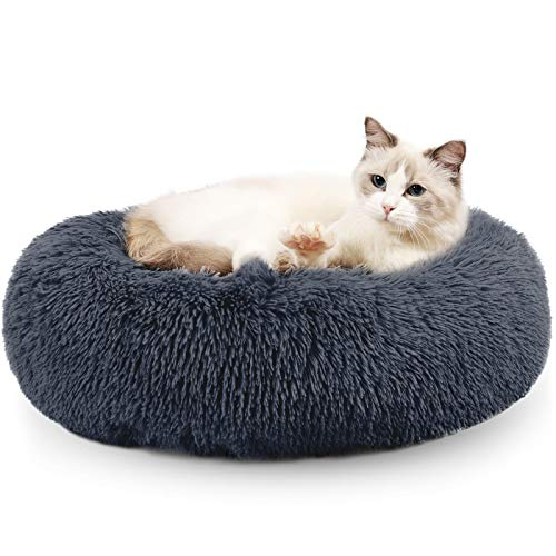 Fluffy Donut Cuddler Pet Bed, Cat and Dog Calming Indoor Cushion Bed with Non-Slip Bottom for Improved Sleep, Machine Washable Long Plush Soft Round Sofa Bed - 24 Inch for Puppy and Kitties, Grey
