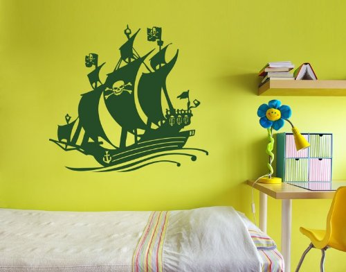 Style & Apply Black Bart Pirate Ship Wall Decal Wall Sticker, Vinyl Wall Art, Home Decor, Wall Mural - 3729 - Black, 20in x 18in