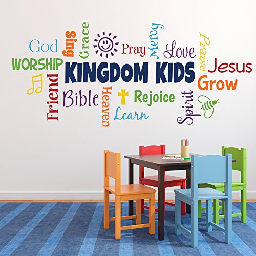 Decals Word collage KINGDOM KIDS Sunday School Church Nursery Fellowship hall Inspirational Wall Vinyl Wall Words Vinyl Sticker RE3142