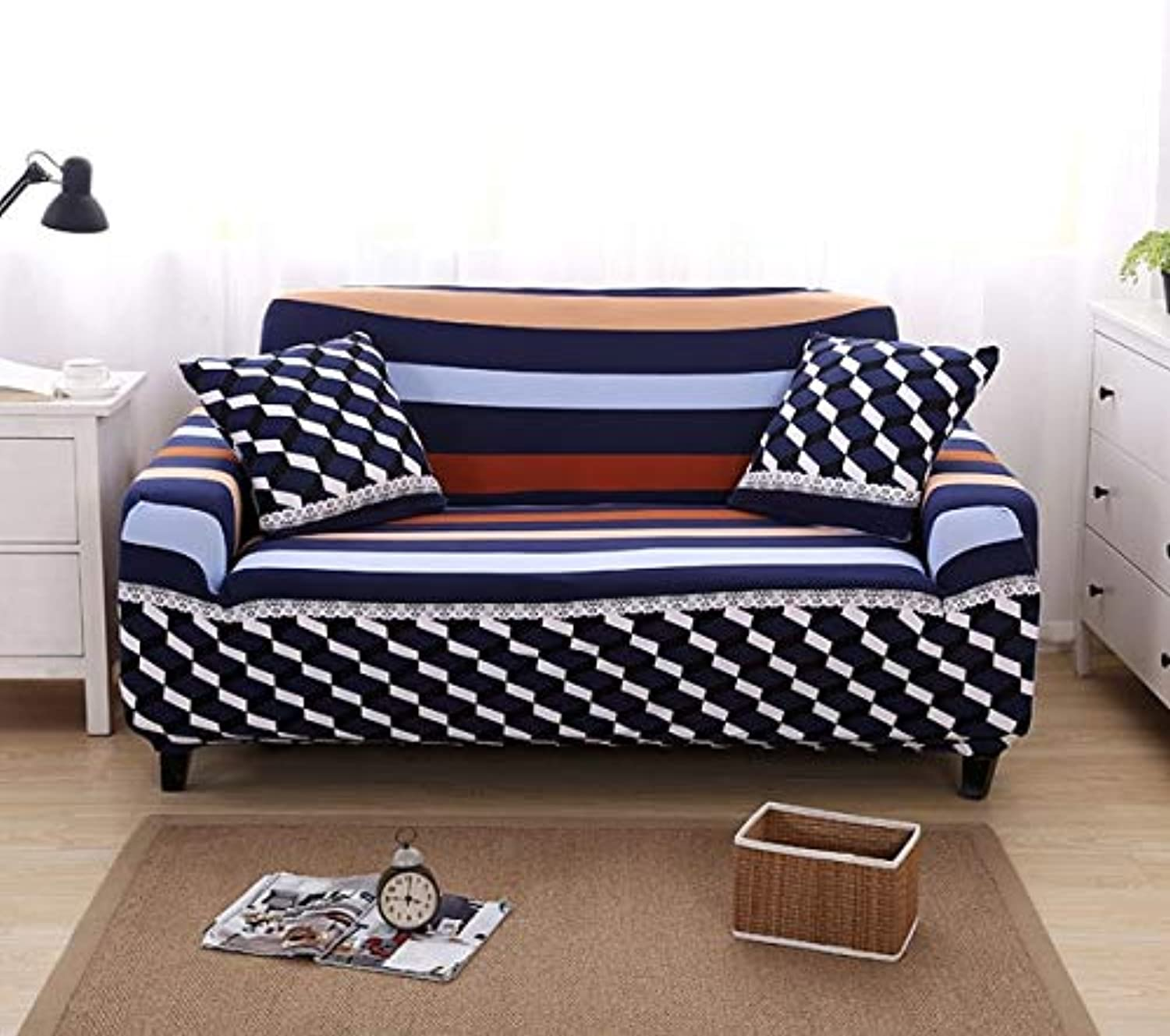 Farmerly Minimalist Geometric Stripe Printing Sofa Predective Slipcover Case Anti-Dirty Dust-Proof Elastic Couch Seat Cover for Living   17, Four Seater