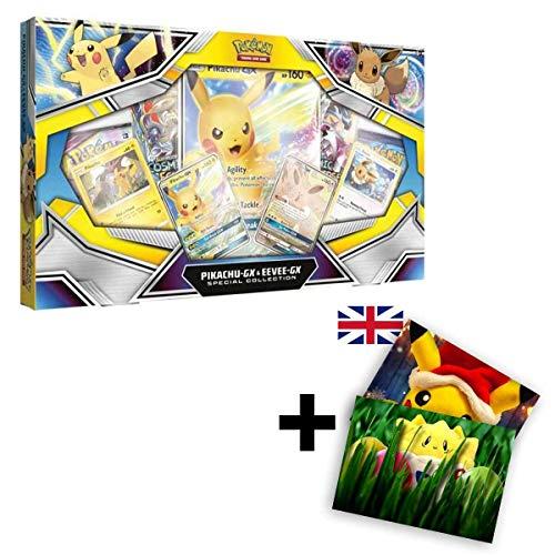 Pokemon Karten Sonne & Mond Pikachu-GX & Eevee-GX Special-Collection / Spielkarten EN Englisch / Sammelkarten + GRATIS Grußkarte