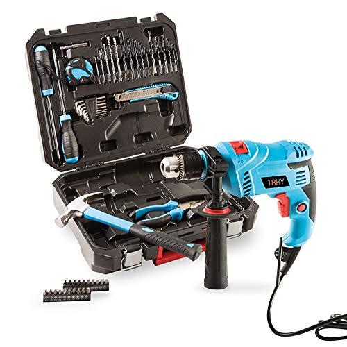 Taky TA-712 - Taladro percutor con 50 herramientas, color azul y negro