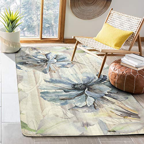 HAOCOO Floral Area Rugs 4'x5.3' Large Modern Country Style Throw Rugs Super Soft Velvet Non-Slip Accent Distressted Floor Carpet for Bedroom Living Room Nursery