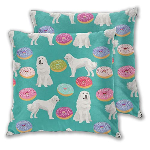 "NoneBrand Great Pyrenees Dog Cute Donuts Best Junk Food Cute Dogs Design Great Pyrenees Dogs Daily Decoration Sofa Bedroom Car Cushion Cover Zip Pillow Cover 18""x 18"", Set of 2"