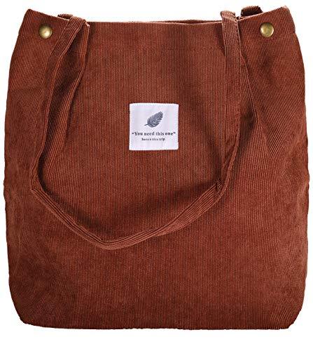 VOKUVIKU Borsa di Stoffa Donna Borsa di Tela Grande Borse Tote Bag da Donna Canvas per Scuola Lavoro Shopping, Marrone