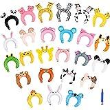 Demine Spielzeug Haarband Tiere aufblasbar für Partyballons für Kinder, [Luftballons Pump] 26 Luftballons Tiere Dschungel für Partyzubehör, Partyballons