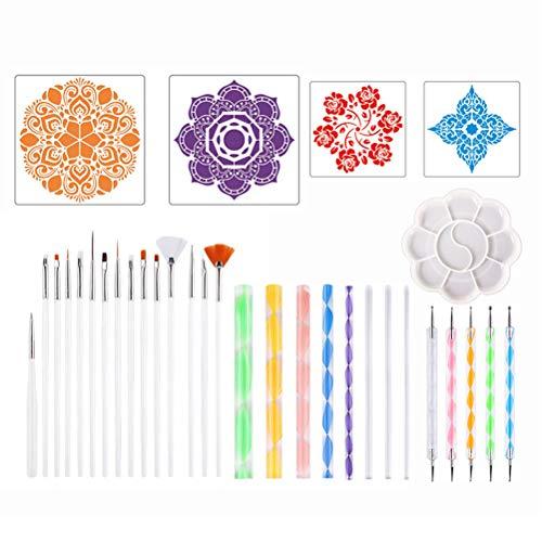 Nargut - Kit de herramientas de pintura de mandala, 33 piezas, con pincel para plantilla de pintura y bandeja de pintura, diseño de graffiti para colorear dibujo, juguetes educativos