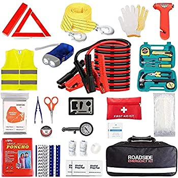 Car Emergency Roadside Tool Kit with Jumper Cable,Auto Truck Automotive Vehicle Assistant Bag for Men Women with First Aid Kit,Automobile SUV RV Safety Road Travel Kit  14.3 x 9.2 x 5.7 inches
