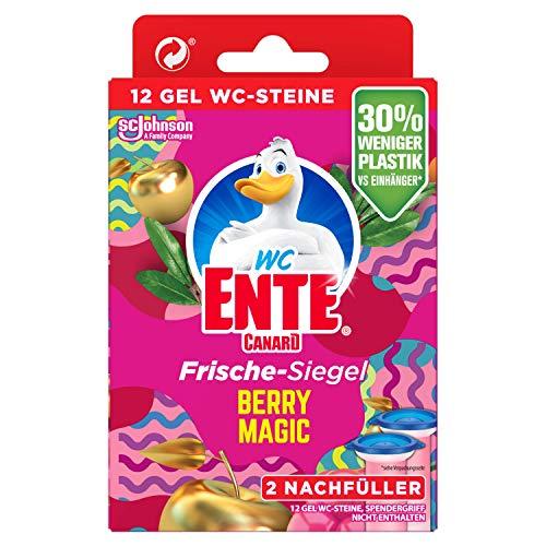 WC-Ente Frische-Siegel Nachfüller, körbchenloser WC-Reiniger, 12 Gel WC-Steine, Berry Magic, 72 ml