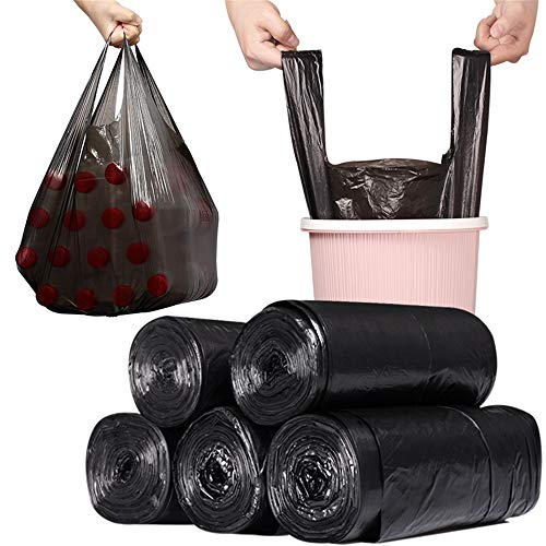 IAMXXYO 150Pcs Sacs Grands Trash Portable Noir Thicken Jetable Sac Déchets Environnement Confidentialité Ordures Sac en Plastique pour Le Salon, Salle De Bains, Cuisine 50 * 60 Cm