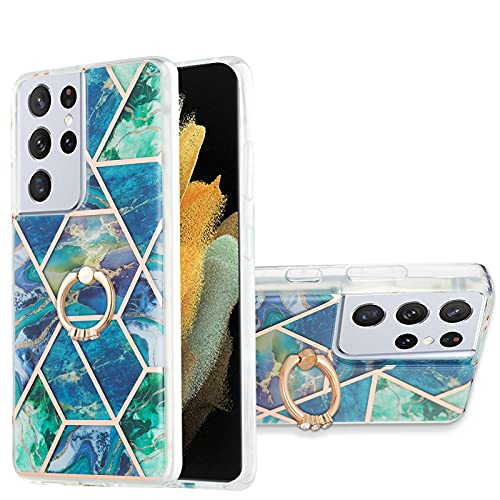VQWQ Funda Silicona para Samsung Galaxy S21 Ultra 5G - Resistente a los Impactos Anti-Choques con Anillo de Metal Carcasa Suave TPU Case Funda para Samsung Galaxy S21 Ultra 5G [Mármol] - C 2