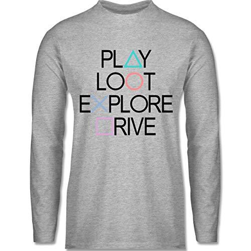 Nerds & Geeks - Play, Loot, Explore, Drive Gamer Shirt - schwarz - S - Grau meliert - Fun - BCTU005 - Herren Langarmshirt