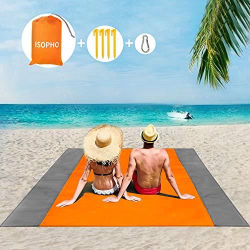 ISOPHO Picknickdecke 243 x 274 cm Stranddecke Wasserdicht, Strandmatte 4 Befestigung Ecken Stranddecke Sandfrei/Picknick für den Strand, Campen, Wandern und Ausflüge(Orange)