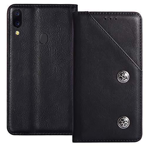 YLYT Negro De Cuero TPU Silicona Funda para Alcatel 5V 5060D 6.2 Inch Vintage Estuche Plegable Caso Étui Cáscara Protección con Billetera Cover