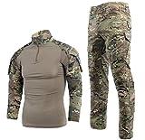 Taktischer Anzug für Herren, Kampf-Hemd und -Hose, Langarm, Ripstop, MultiCam, für Airsoft, Wald,...