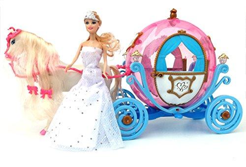 Brigamo 601841 - Elektrische Märchen Prinzessin Kutsche in Kürbisform mit Sound, Beleuchtung und Elektrischem Pferd ✨